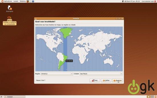 Seleção Fuso-Horário - Instalação Ubuntu 9.04
