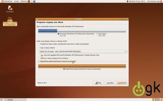 Gerenciardor de Partições I - Instalação Ubuntu 9.04
