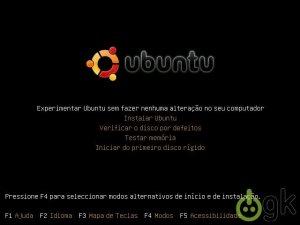 Tela inicial Ubuntu LiveCD